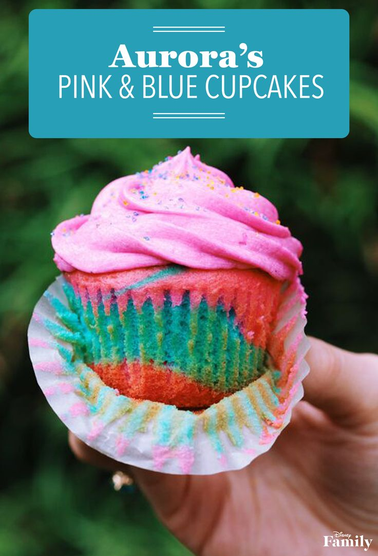 We love this! Aurora's pink & blue cupcakes for a Sleeping Beauty birthday party.