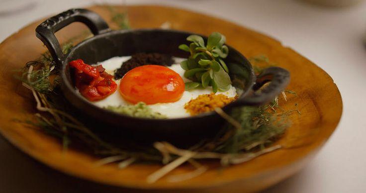 Red pepper egg by Dan Barber of Bluehill Farms. #BluehillFarms #DanBarber #ChefsTable
