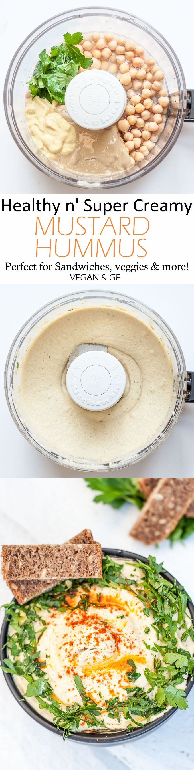 Healthy n' Extra Creamy Mustard Hummus for sandwiches, steamed veggies, casseroles, and more! + a guide on how to make creamy hummus!! | VeganFamilyRecipes.com | #appetizer #vegan #gf