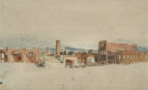 Joseph Mallord William Turner, 'The Colosseum and the Basilica of Constantine from the Palatine Hill, Rome' 1819