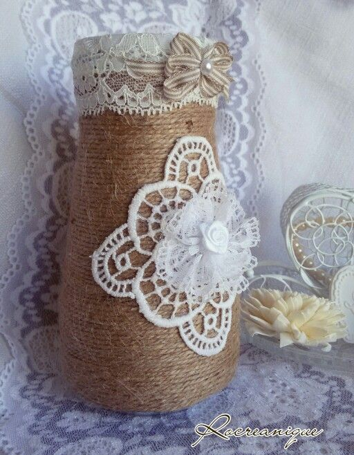 Shabby chic mason jar covered with burlap rope by Rocreanique on Etsy