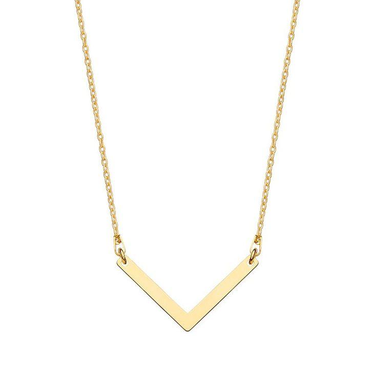 Złoty naszyjnik z zawieszką V