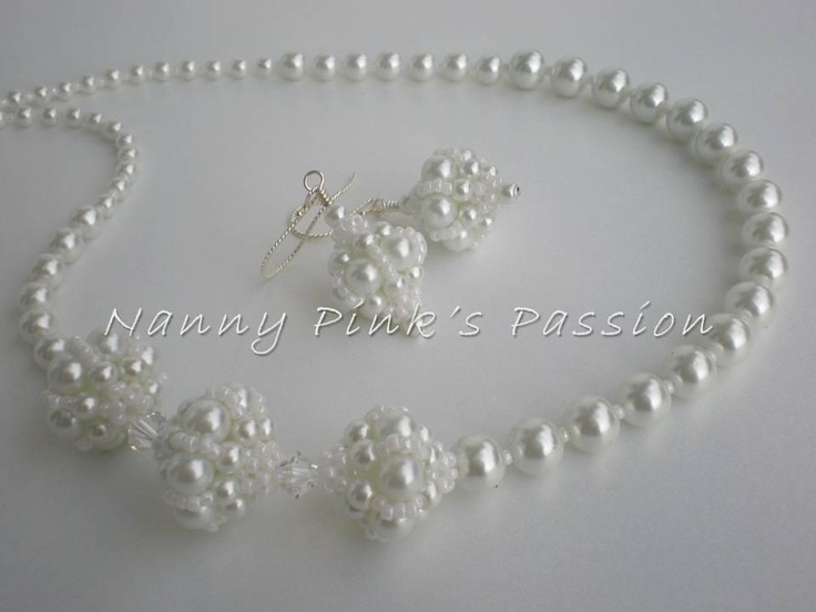 Facebook Nancy's Pink Passion - Bridal Beaded Bead Necklace & Earrings Set