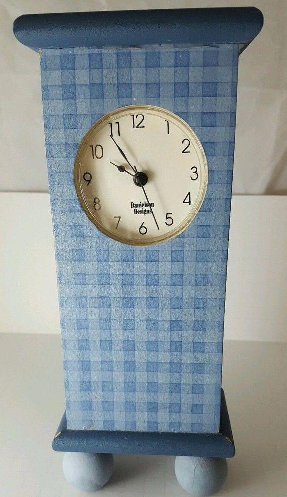 Analog Clock Blue Mantel Wood Gingham Americana Shabby Chic Danielson Designs #DanielsonDesigns #Americana