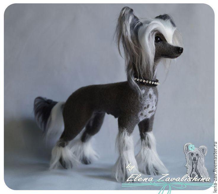 Купить Китайская хохлатая собака Пепси - серый, валяная хохлатая, китайская хохлатая собака