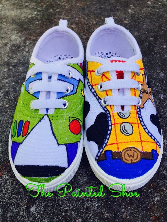 Painted Shoes - Disney Painted Shoes - Toy Story Painted Shoes - Buzz - Woody