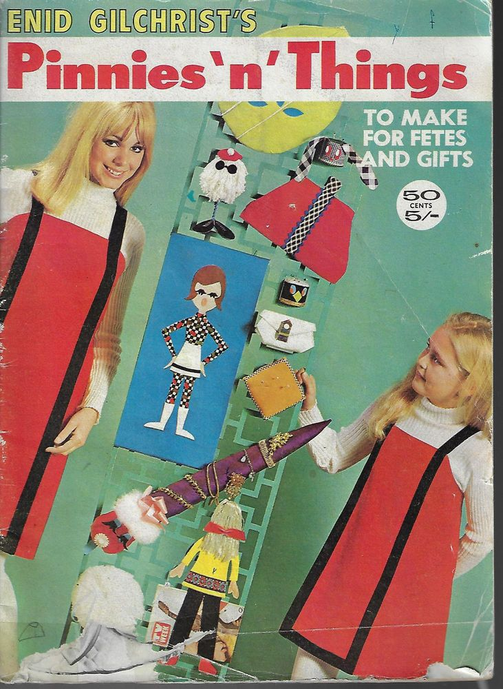 Enid Gilchrist Pinnies & Things vintage sewing pattern book aprons gifts fete  #EnidGilchrist
