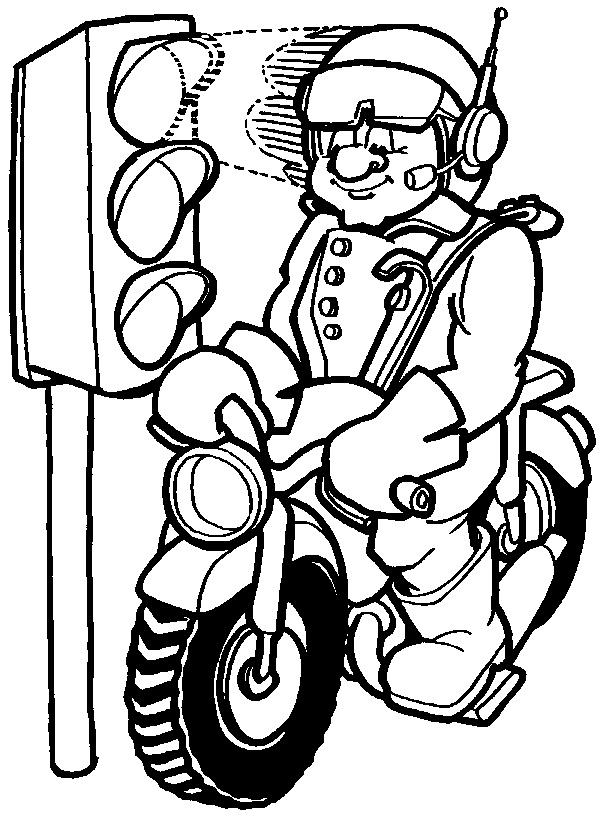 Kleuterdigitaal Kp Politieagent Op Motor 01 Beroepen Kleurplaten