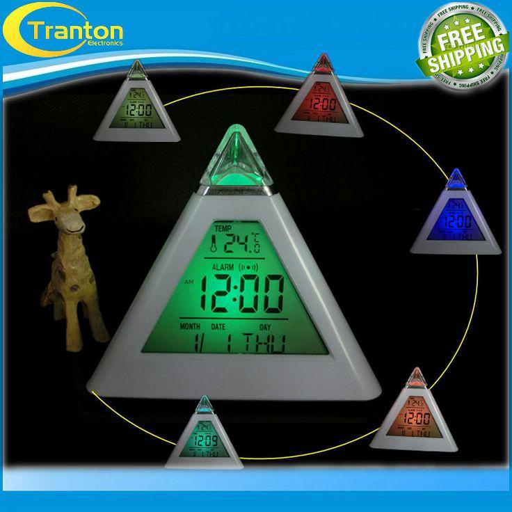 Nueva Moda Pirámide de Temperatura de 7 Colores LED Cambio de luz de Fondo LED de Alarma Del Reloj