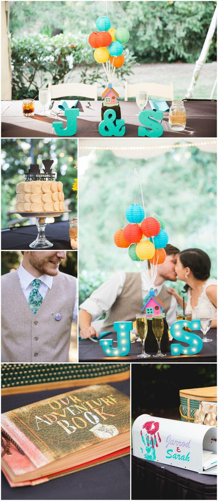 "Pixar's ""Up,"" Disney-themed wedding, paper lantern ""balloons,"" grape bottle cap, Carl & Ellie, Our Adventure Book // Steele Photography"