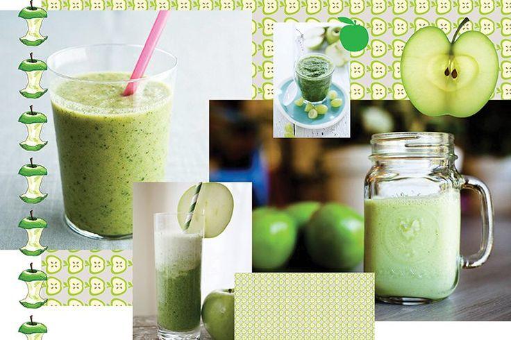 ЗЕЛЕНЫЙ СМУЗИ ИЗ ЯБЛОКА, КИВИ И КИШМИША Тебе понадобится (2 порции):  1 крупное зеленое яблоко. 3 спелых киви. 1 банан. 1 гроздь зеленого кишмиша. 1 стакан зеленого чая. Немного корня свежего имбиря. Рецепт:  Банан предварительно нарежь кольцами заморозь в пищевом пакете в морозилке. Очисти яблоко и киви от кожуры, нарежь мелкими кубиками. Вымой и очисти небольшой кусочек имбирного корня и натри его на мелкой терке. Взбей все ингредиенты в блендере до однородной густой консистенции…