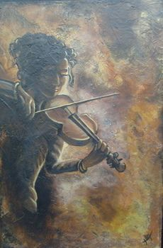 Art,Painting,Acrylic,Musician,Violin, abstract,Figure The violinist