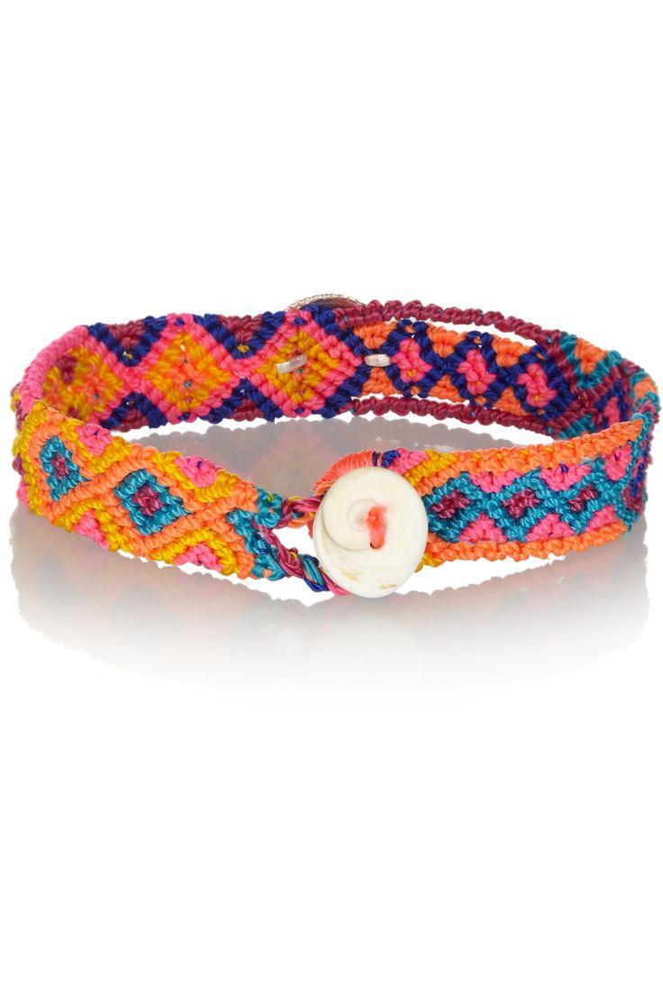 Dezso By Sara Beltran  Brights Shell Wovencotton And Silver Friendship  Bracelet