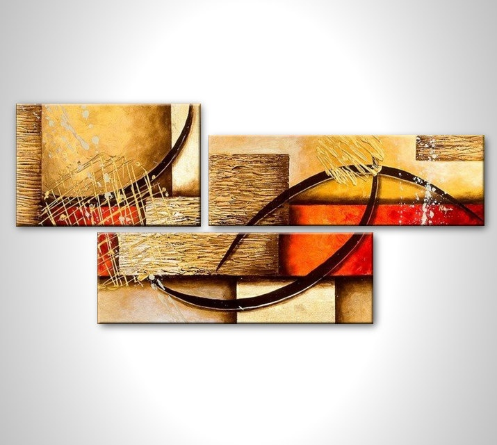 Abstract multi panel painting - contemporary abstract art - stretched and ready to hang - size 20x48. $120.00