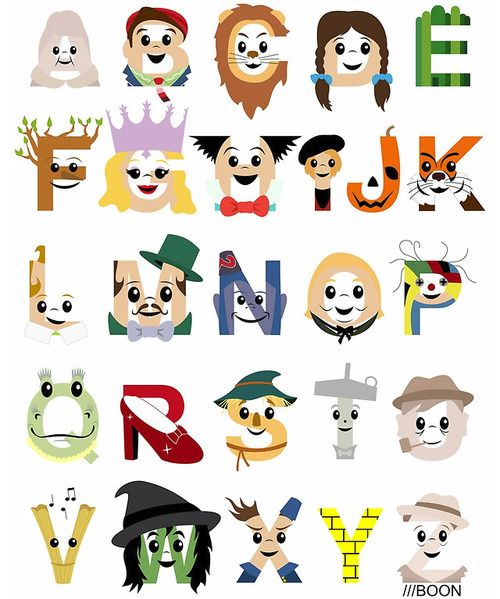 Typographic Wizard of Oz I love this so much and it has characters from the book!!!!