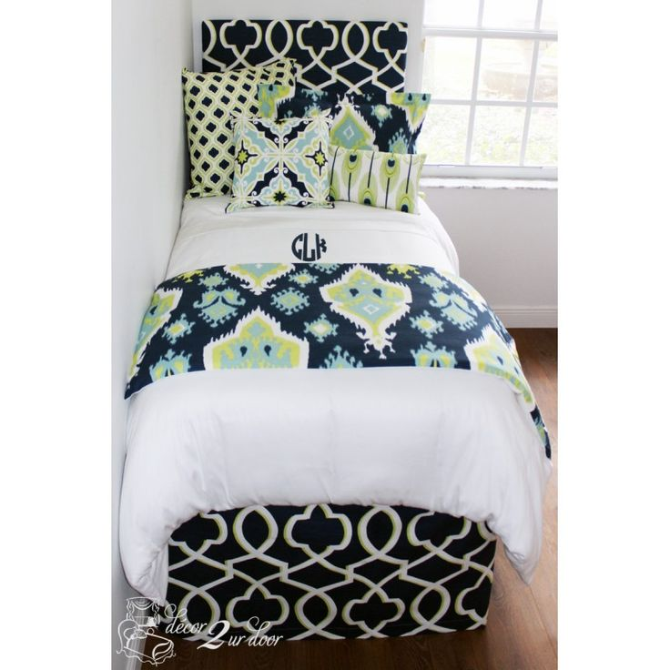 Custom College Dorm Room Bedding Gorgeous Mix Of Patterns And ColorsCanal  Neon Lime U0026 Navy Designer Bed In A Bag Set Add Monograms, Headboard, And  More!