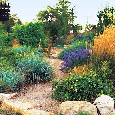 Rugged path    Billowy grasses and dry-climate perennials give this pebbly path in Paso Robles, CA, a rugged look.