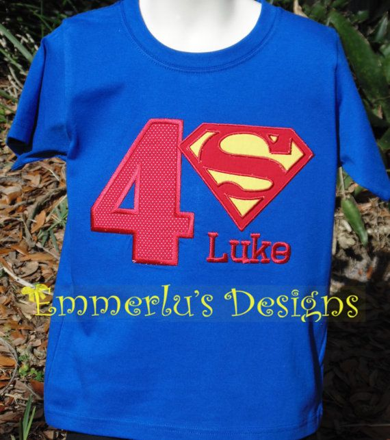 Super Hero Birthday or Initial Shirt or by EmmerlusDesigns on Etsy, $24.95