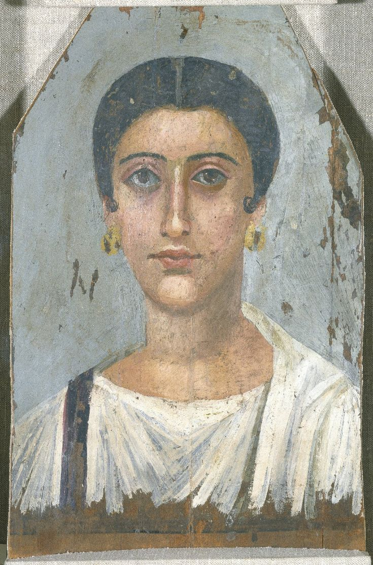 """A portrait of an Egyptian noblewoman who lived ca. 150 BC. From Egypt, encaustic on wood. """"Egyptian Roman Period mummy portraits were painted on wooden panels that were slipped into the mummy..."""