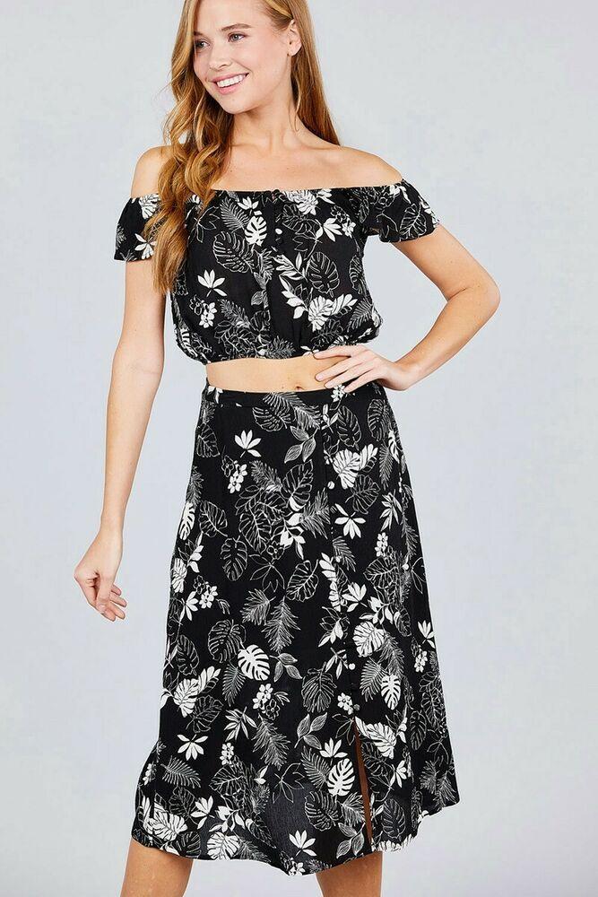 d916b57117 New Women's Black Off The Shoulder Button Down Midi Skirt Set #fashion # dresses #