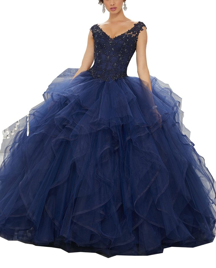 Meledy Women's V-Neck Beading Lace Puffy Sweet 16 Straps Sweet Traps Ball Gown Quinceanera Dresses Navy Blue for Girls US14