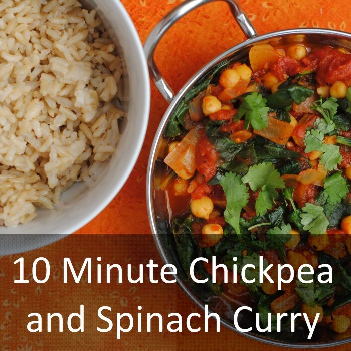 10 Minute Chickpea and Spinach Curry - Healthy and delicious meals do not get much quicker than this chickpea and spinach curry that is ready in just 10 minutes. Very little preparation is requi Indian 10 Minute Chickpea and Spinach Curry, curry, kitchen craft, vegetarian