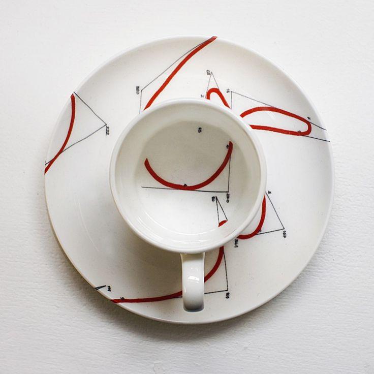 Random Walk Cup & Saucer by Maia Norman & Keith Tyson