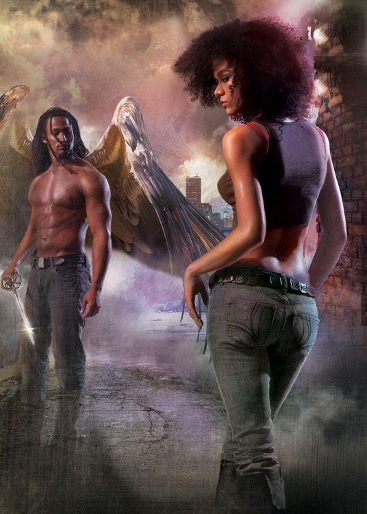 Book Cover Fantasy Wiki : Urban fantasy art heroine and angel by gene mollica