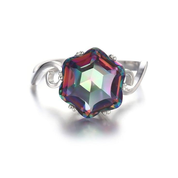 3.2ct Mystic Fire Topaz Ring | $45.50 | #ss #ring #topaz