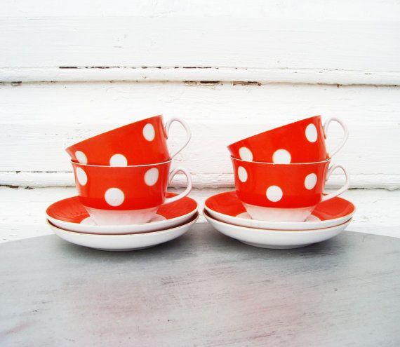 Polka dot Tea Set Soviet vintage USSR Elegant coffee cups and saucers Kitchen Dinnerware set Bright Red Orange Tableware by MerilinsRetro, $45.00