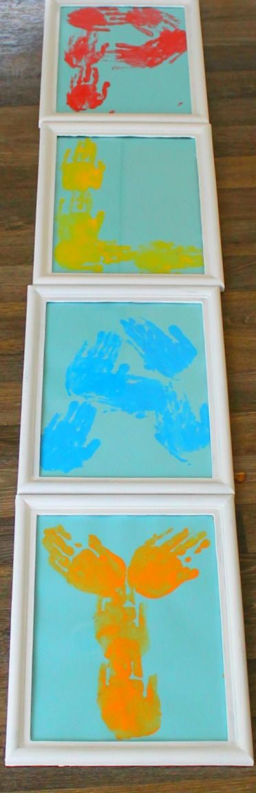 Using kids handprints to make art! Such a great way to add kid made art to a playroom
