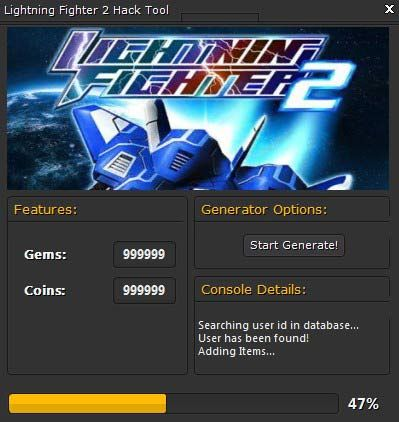 Lightning fighter 2 hack tool no survey android ios for Motor wars 2 hacked