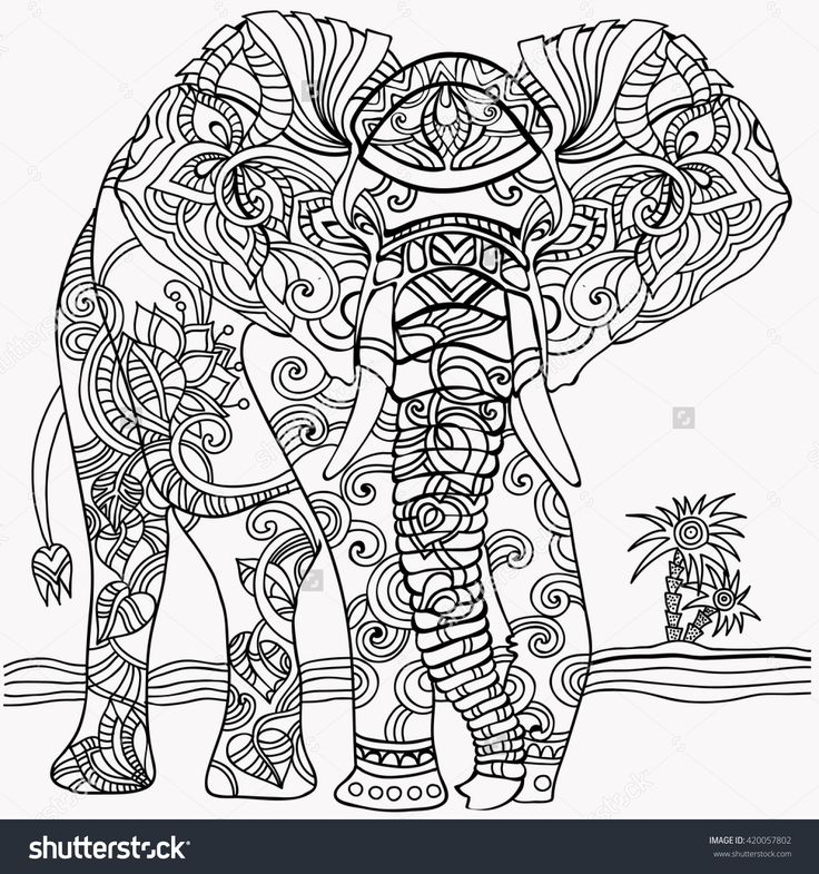 Coloring Picture Elephant 316 Best Adult ColouringElephantsZentangles Images On Pinterest