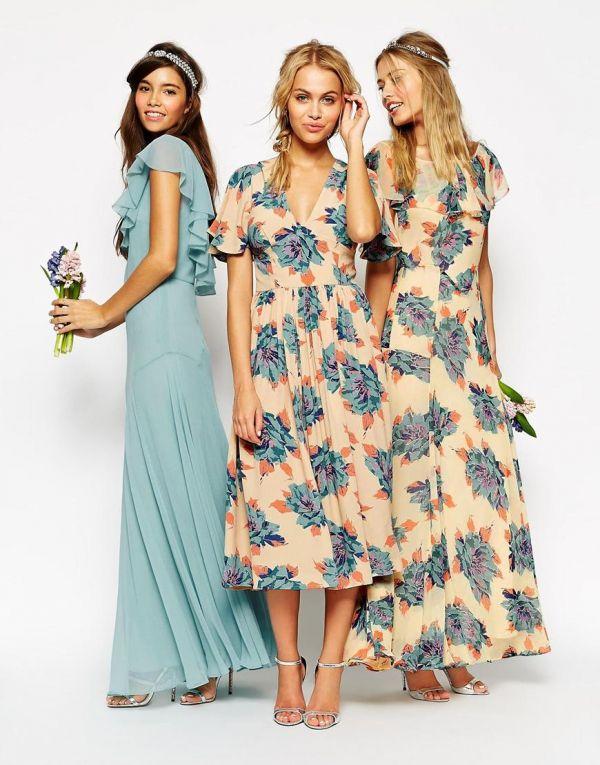 Conjunto de vestidos estampados y liso ideales para damas de honor que quieran ir conjuntadas