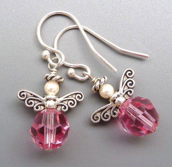 Angel pendientes...Cristal de Swarovski color rosa y plata