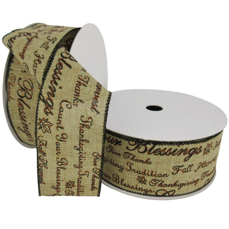 """Member's Mark Premium Wired Ribbon, Fall Script in Brown Paint with Orange Glitter Accents on Natural Linen, 2.5"""" Wide (100 yards total, 2 pk.) - Sam's Club"""