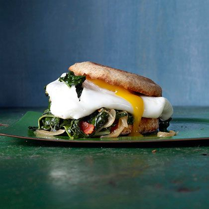 #BREAKFAST: Bacon, egg, and kale on a whole-wheat English muffin. Drool. | Health.com