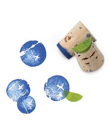 Blueberry fabric stamps made from wine corks.