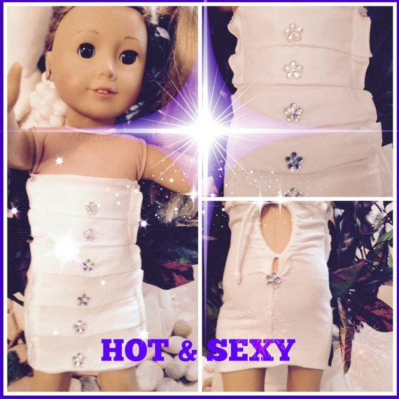 "American Girl Doll 18"" White Strapless & Sleeveless Cotton Dress/Cover Up Drawstring Dress"