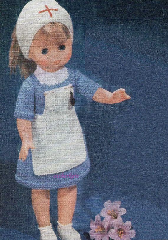 Knitting Pattern For Nurse Doll : 141 best images about Dolls Clothes - Knitting and Crochet Patterns on Pinter...