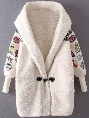 Embroidered Lamb Wool Coat - Off-white
