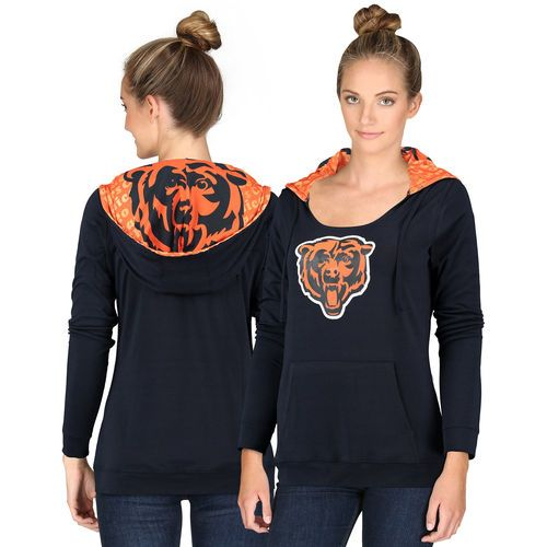 Women's Chicago Bears Navy Blue Cameo Hooded Long Sleeve T-Shirt