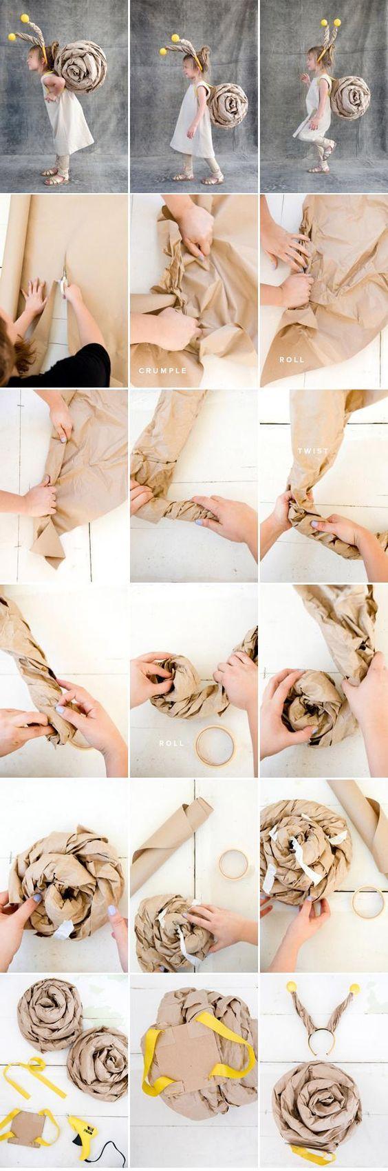 Brīnišķīgs gliemeža kostīms, soli pa solim pamācība. // Snail cosumte by http://ohhappyday.com: