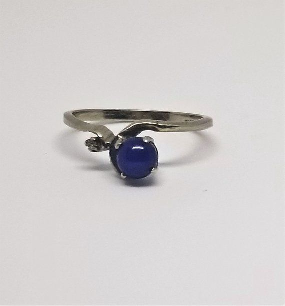 10k White Gold Diamond And Linde Blue Star Sapphire Ring Size 5 1 2 Blue Star Sapphire Ring Star Sapphire Ring Blue Star Sapphire