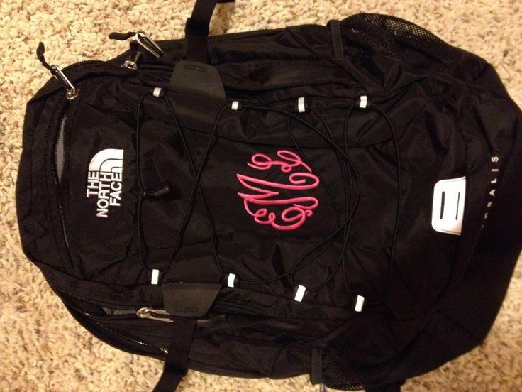 Monogrammed north face backpack