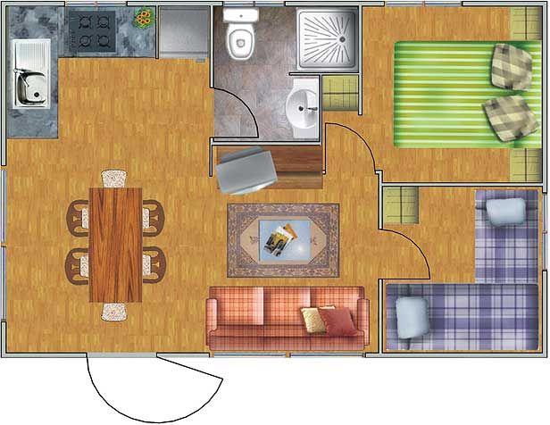 Plano de casa de con 2 dormitorios planos de for Planos de casas de 2 habitaciones