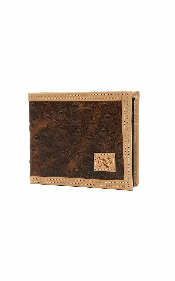 Tony Lama® Bifold Rustic Brown Ostrich Print Center with Natural Trim Wallet WTL104