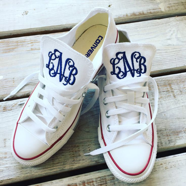 Women's White Converse Chuck Taylor AllStar OX Monogrammed Shoe by ElsBriarPatch on Etsy