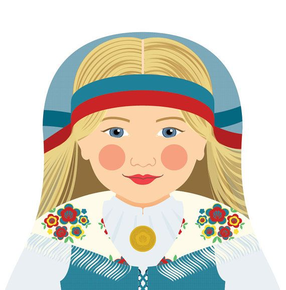 This is my Finnish Girl Matryoshka (aka- babushka, nesting doll, Russian doll, stacking doll) a print of an original illustration by me, Amy