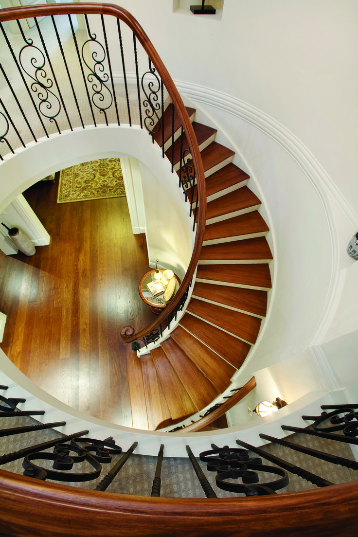 This staircase we designed for our client in Blackburn is just magnificent! Here's a look from the top!   To view more samples of our work, feel free to visit our portfolio. http://bit.ly/1VK9haE